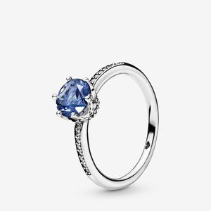 Pandora  Blue Sparkling Crown Solitaire Ring
